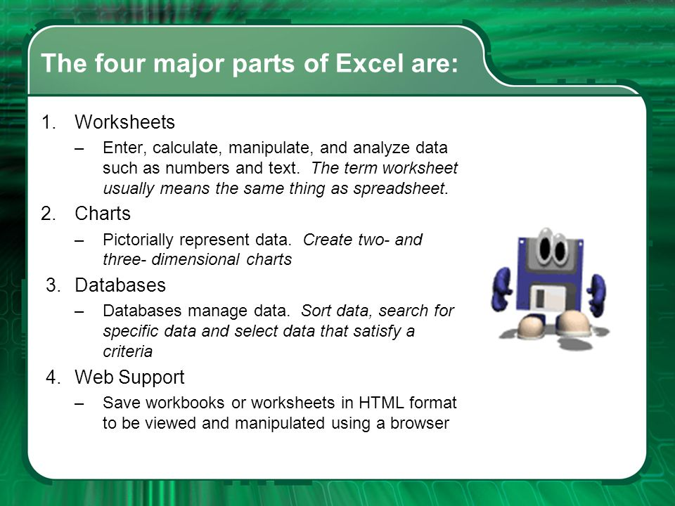 The four major parts of Excel are: