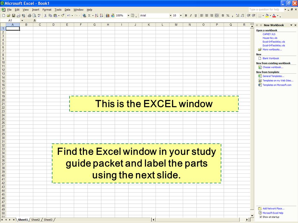 This is the EXCEL window