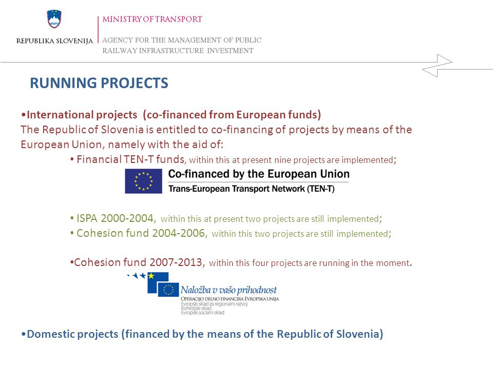 RUNNING PROJECTS International projects (co-financed from European funds)
