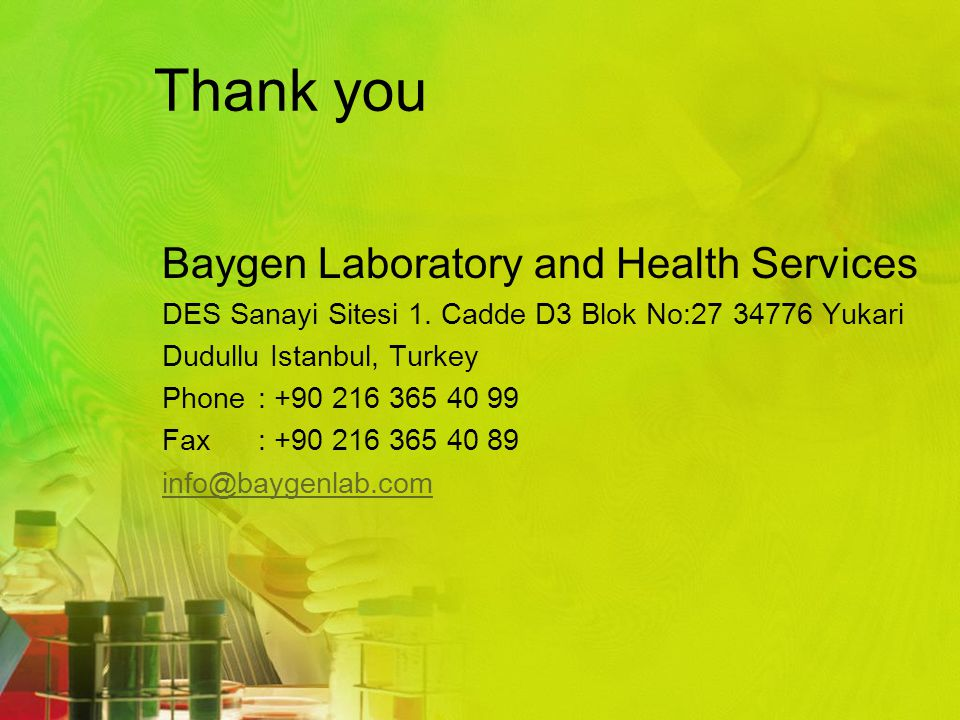 Thank you Baygen Laboratory and Health Services