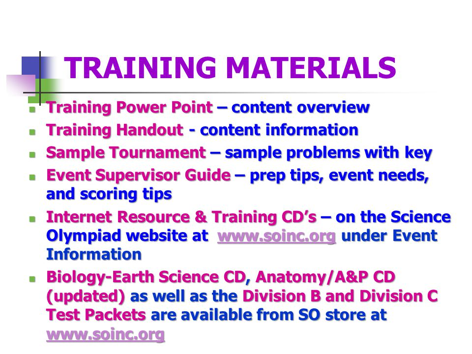 TRAINING MATERIALS Training Power Point – content overview