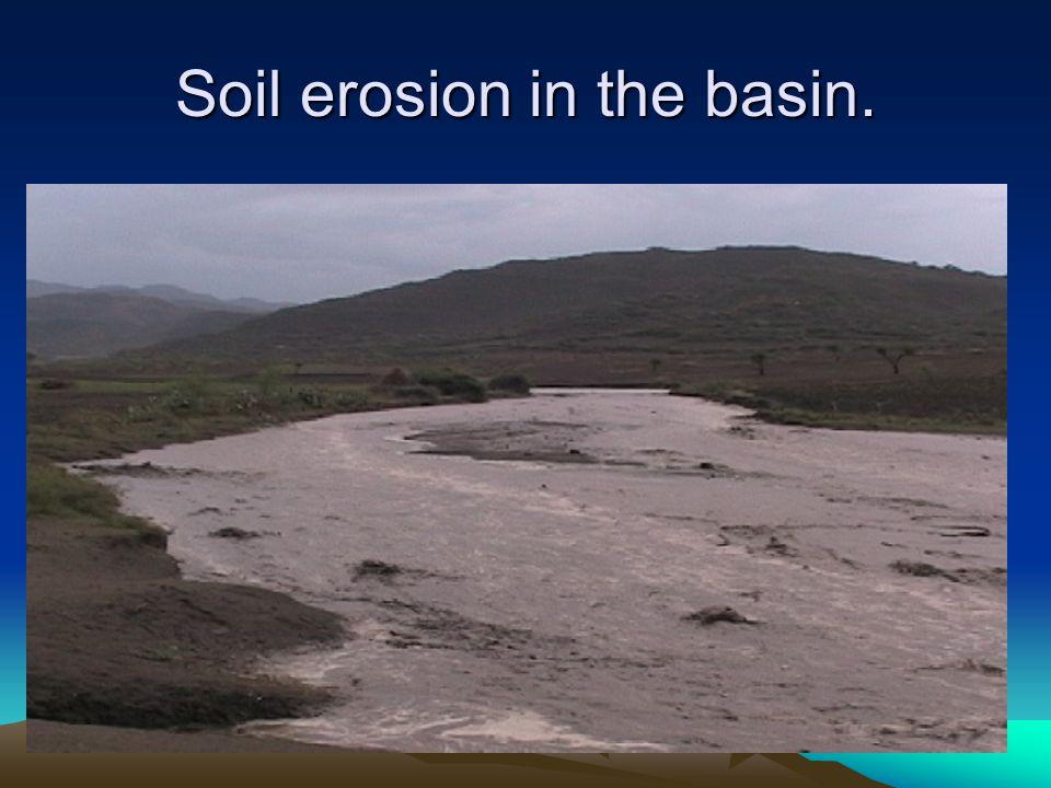 Soil erosion in the basin.