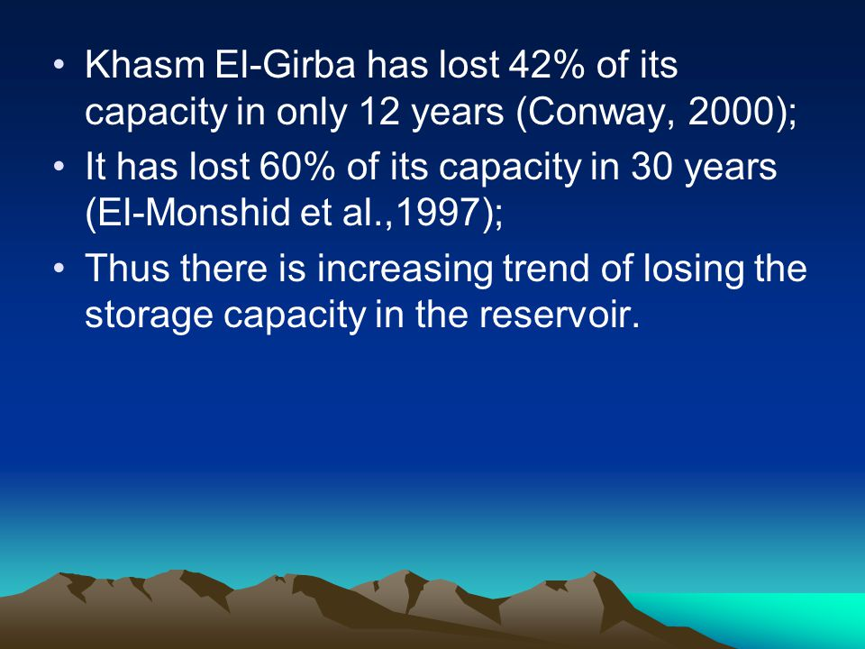 Khasm El-Girba has lost 42% of its capacity in only 12 years (Conway, 2000);