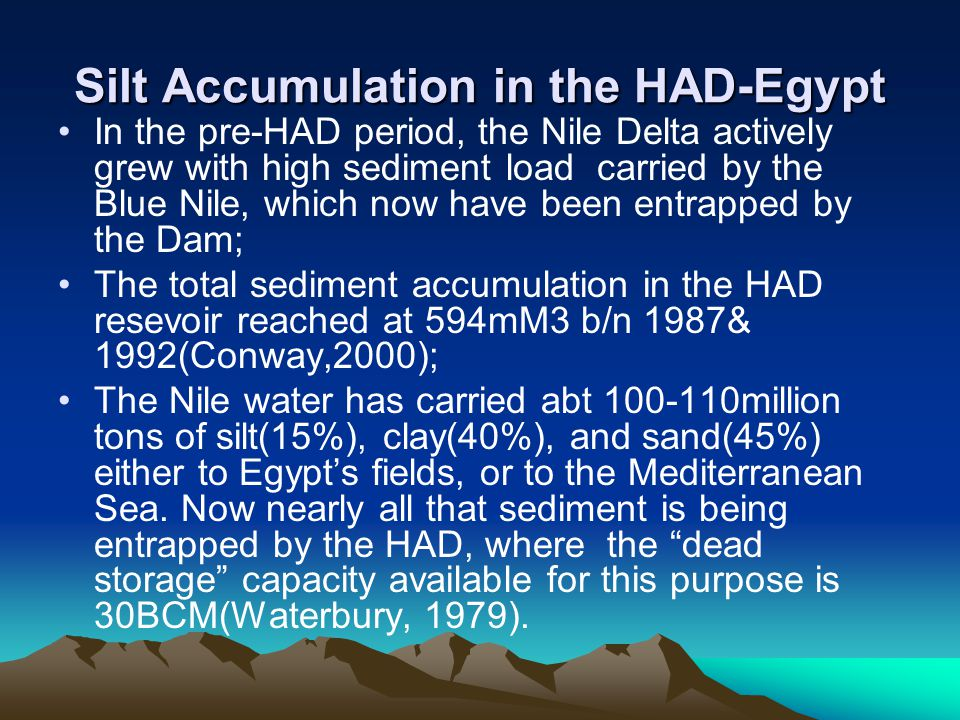 Silt Accumulation in the HAD-Egypt