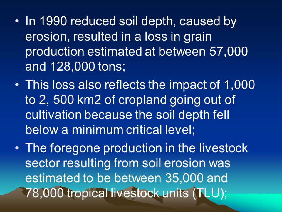 In 1990 reduced soil depth, caused by erosion, resulted in a loss in grain production estimated at between 57,000 and 128,000 tons;