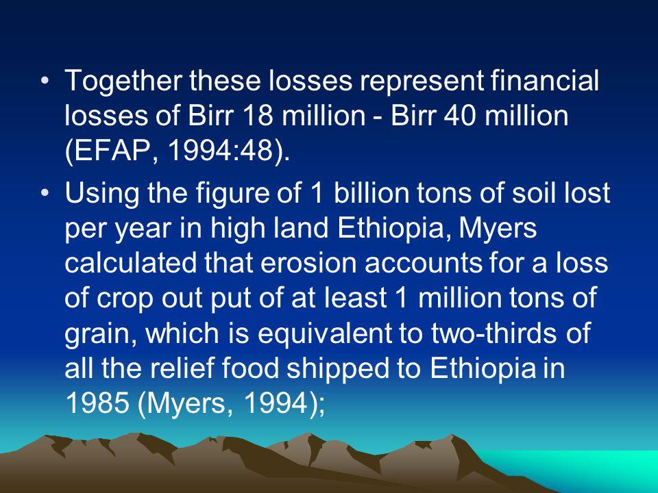 Together these losses represent financial losses of Birr 18 million - Birr 40 million (EFAP, 1994:48).