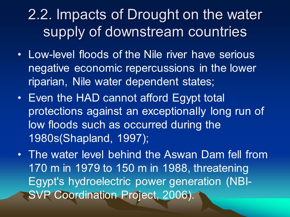2.2. Impacts of Drought on the water supply of downstream countries