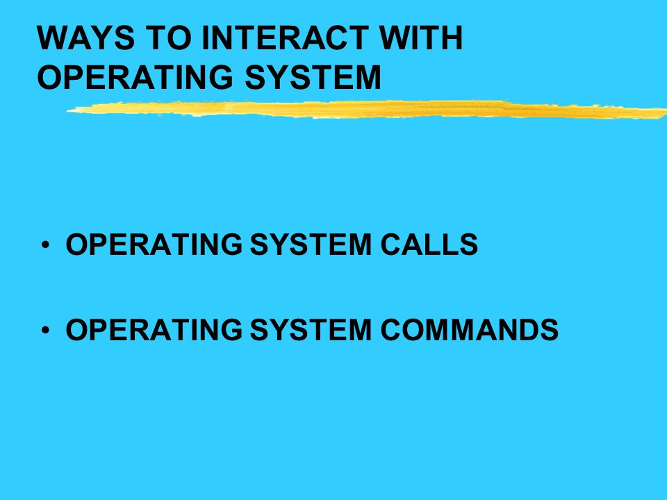WAYS TO INTERACT WITH OPERATING SYSTEM