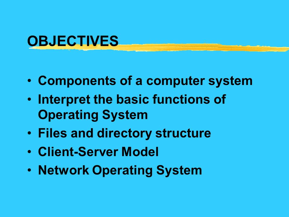 OBJECTIVES Components of a computer system