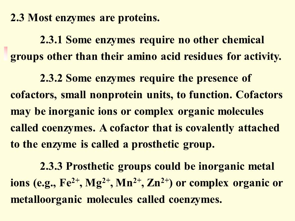 2.3 Most enzymes are proteins.