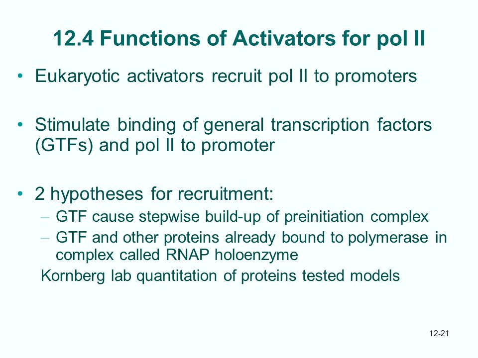 12.4 Functions of Activators for pol II