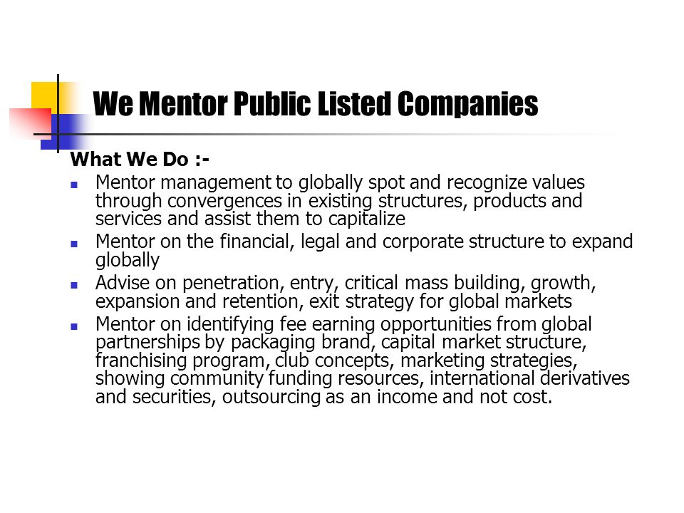 We Mentor Public Listed Companies