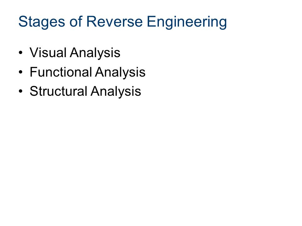 Stages of Reverse Engineering