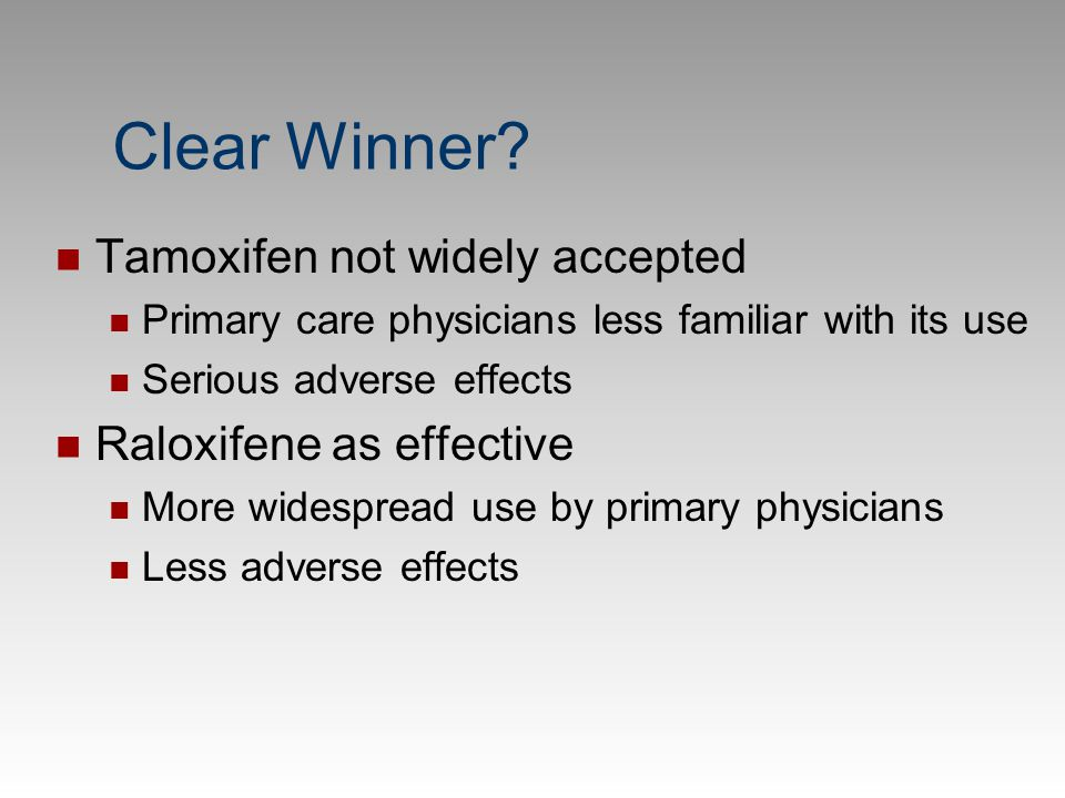 Clear Winner Tamoxifen not widely accepted Raloxifene as effective