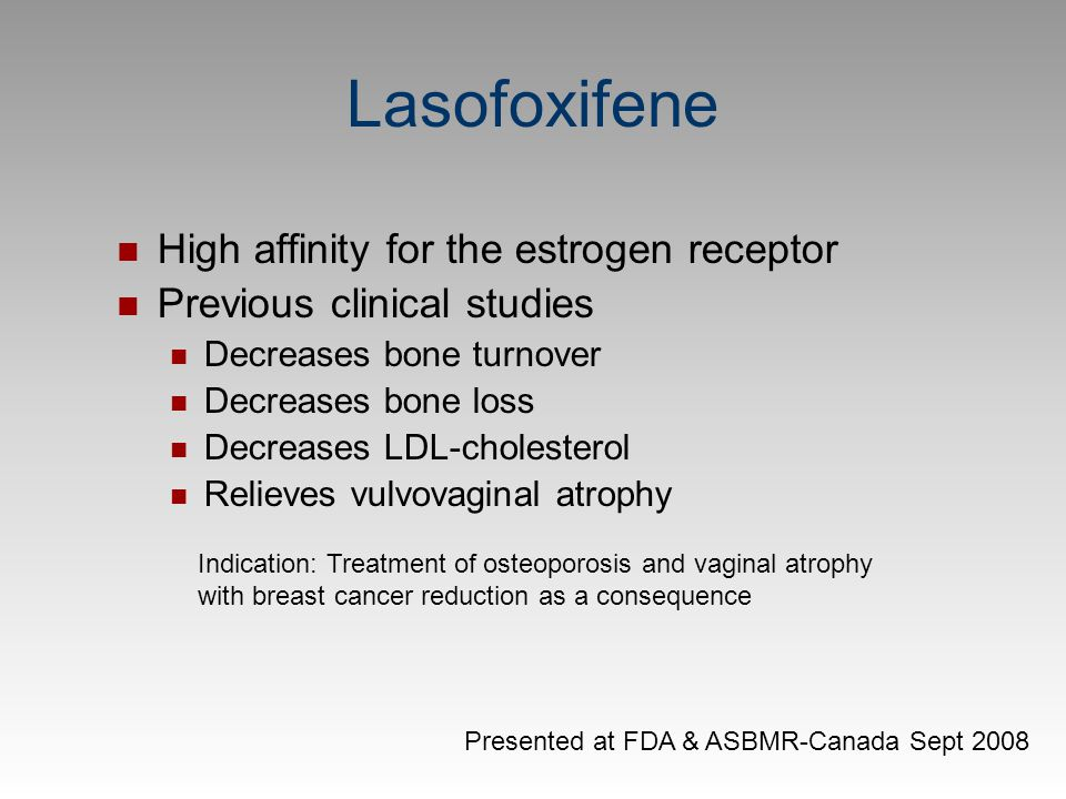 Lasofoxifene High affinity for the estrogen receptor