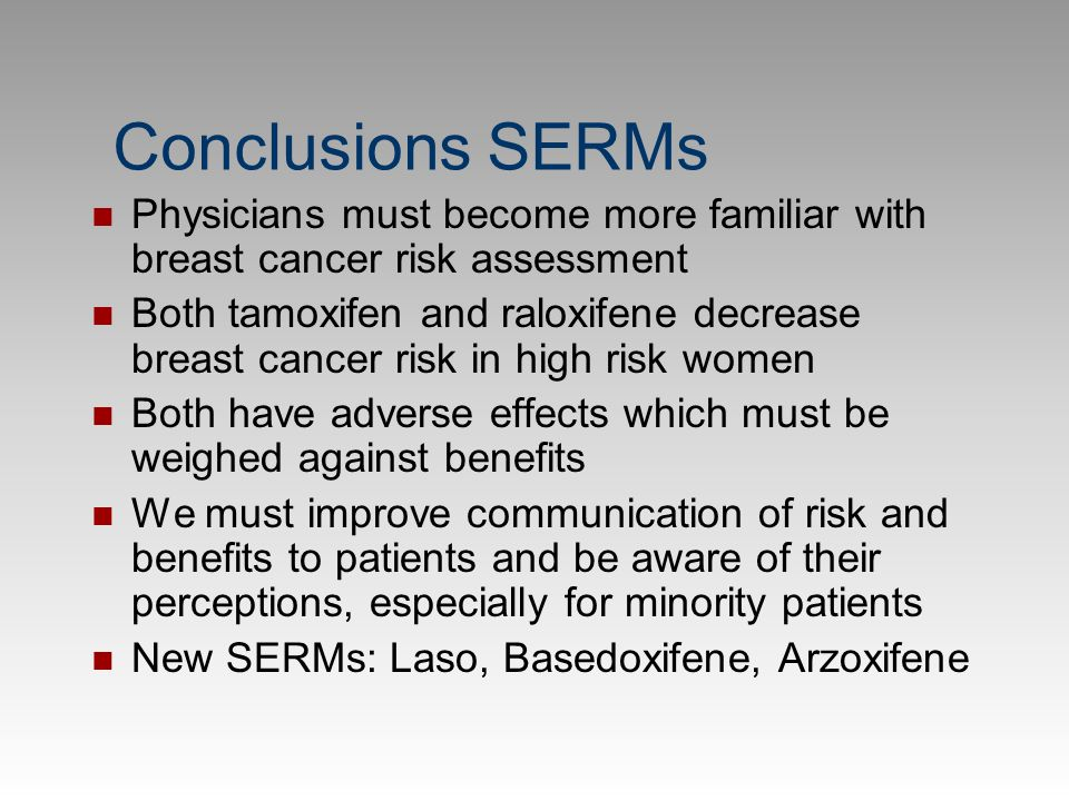 Conclusions SERMs Physicians must become more familiar with breast cancer risk assessment.