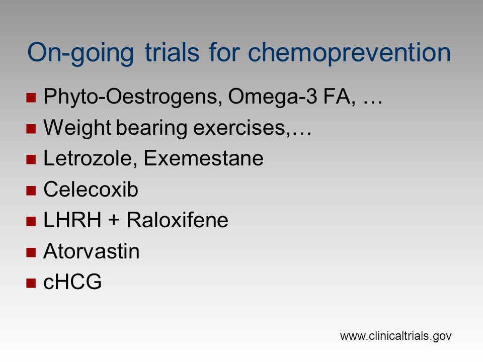 On-going trials for chemoprevention