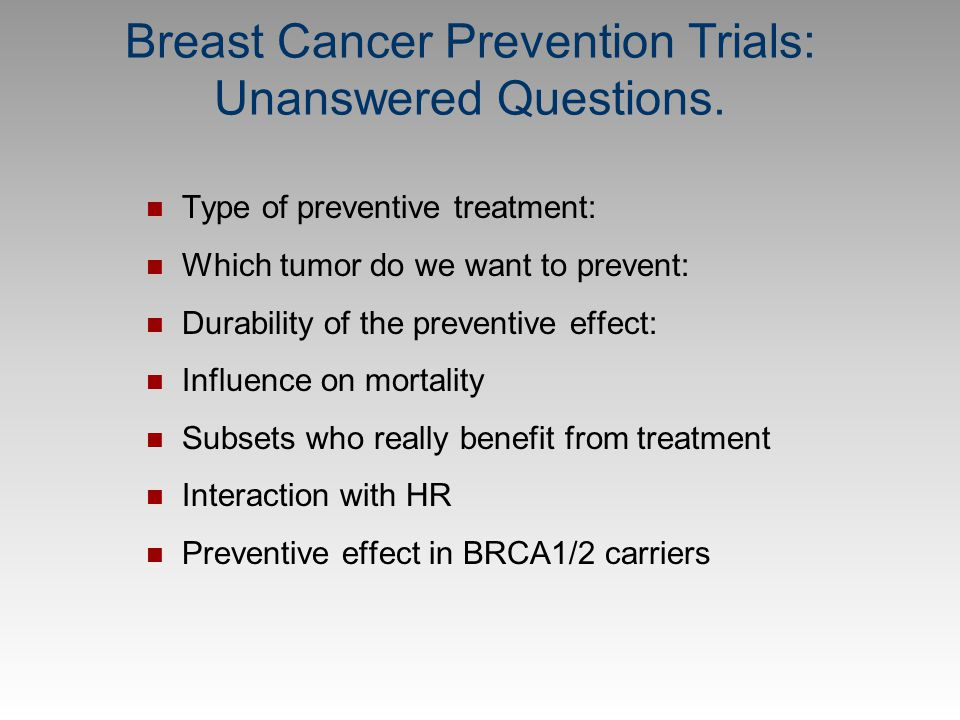 Breast Cancer Prevention Trials: Unanswered Questions.