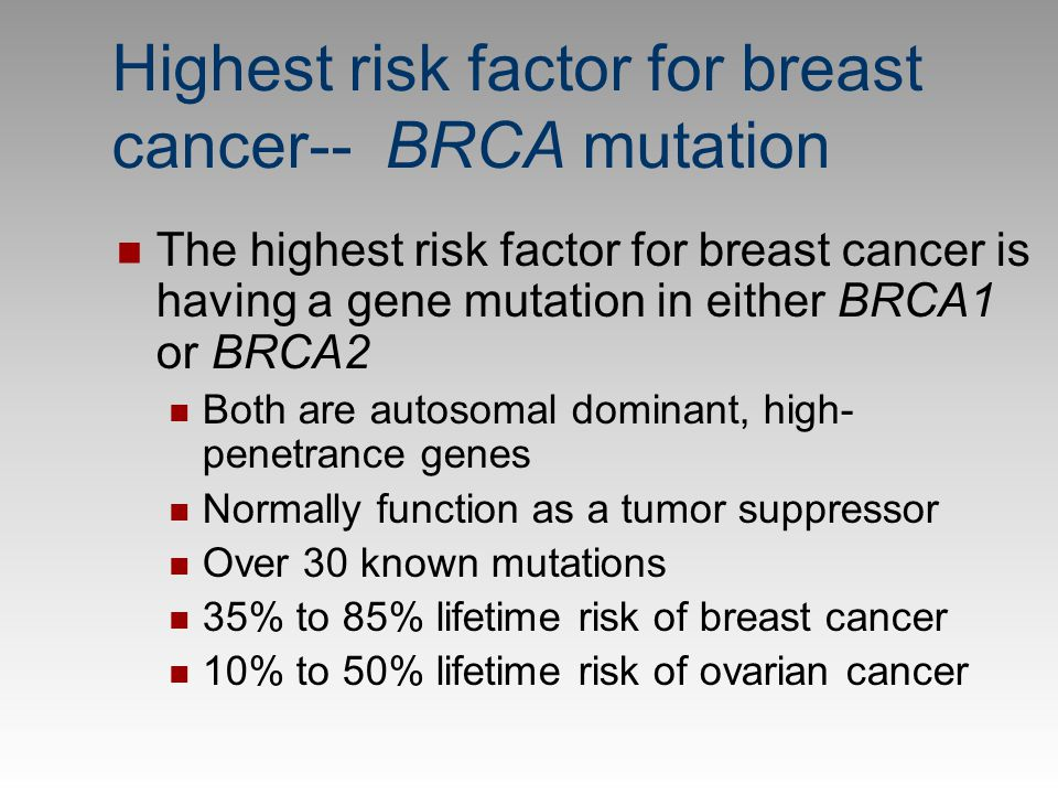 Highest risk factor for breast cancer-- BRCA mutation