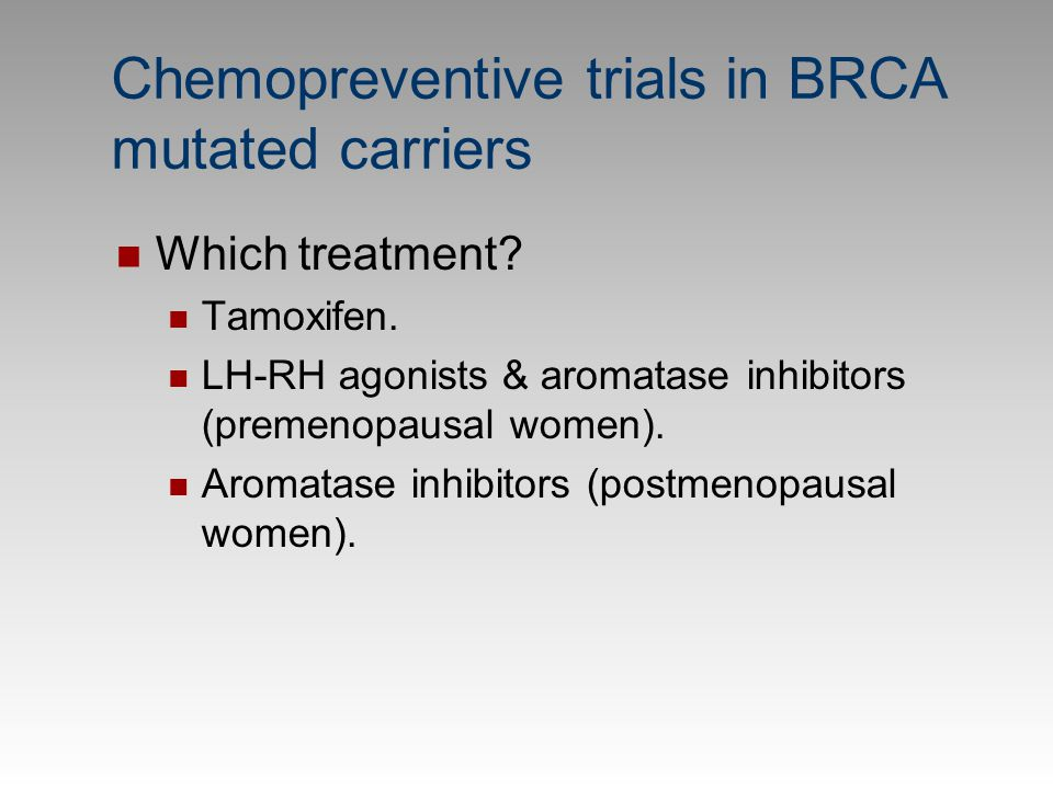 Chemopreventive trials in BRCA mutated carriers