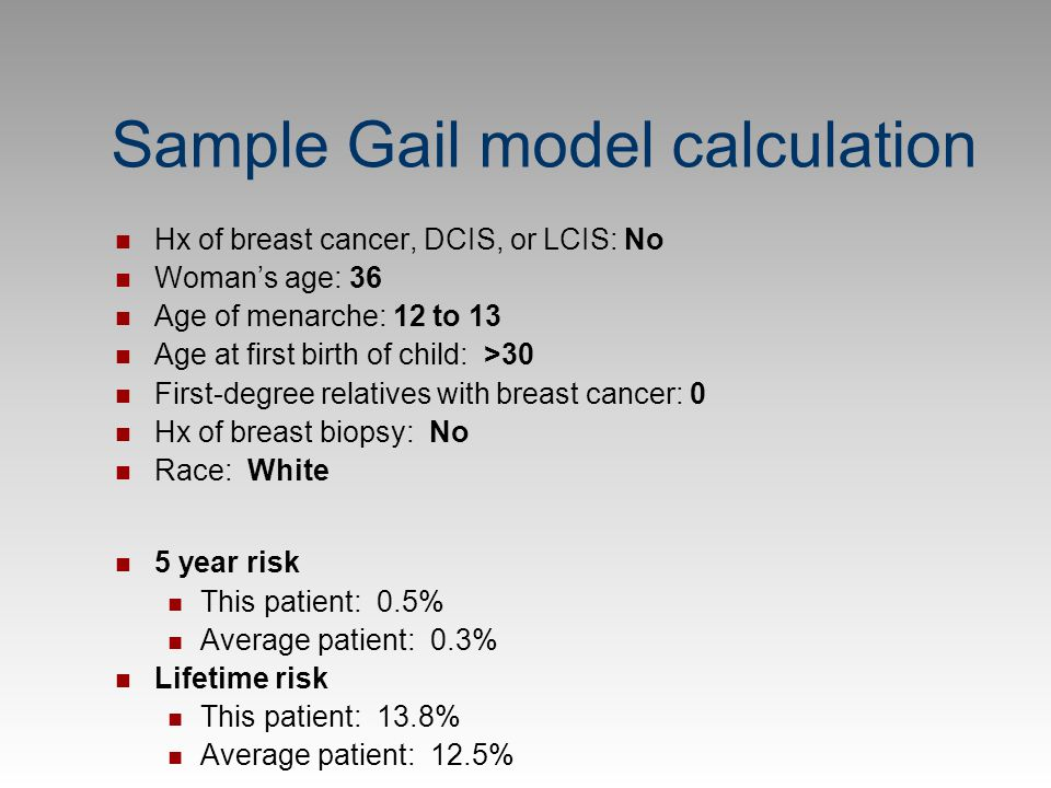 Sample Gail model calculation
