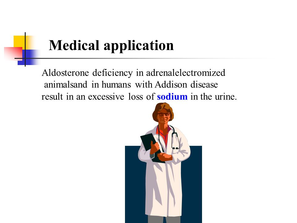 Medical application Aldosterone deficiency in adrenalelectromized