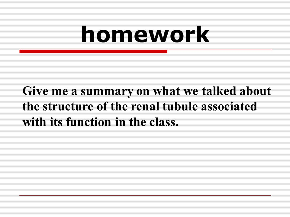 homework Give me a summary on what we talked about the structure of the renal tubule associated with its function in the class.