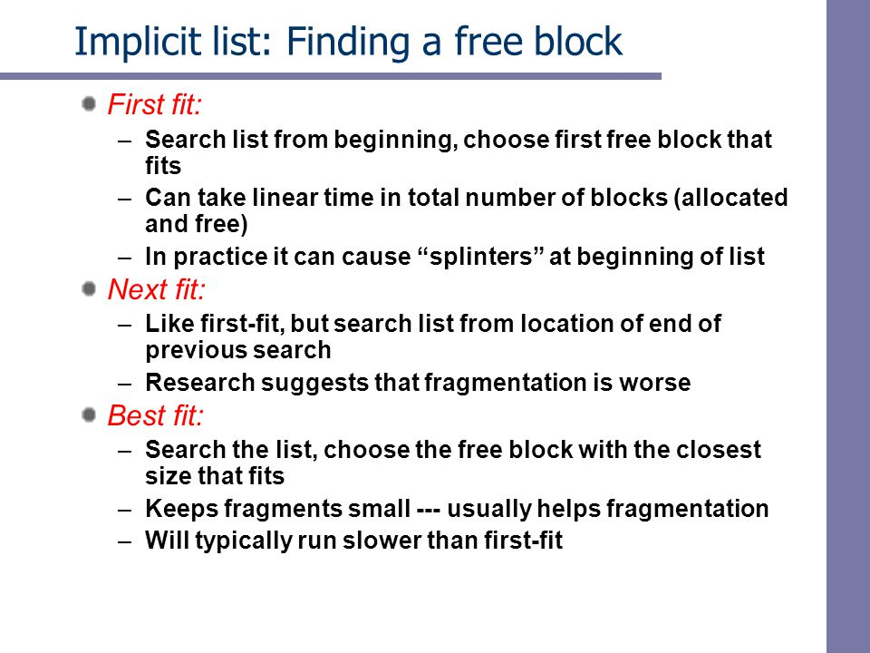 Implicit list: Finding a free block