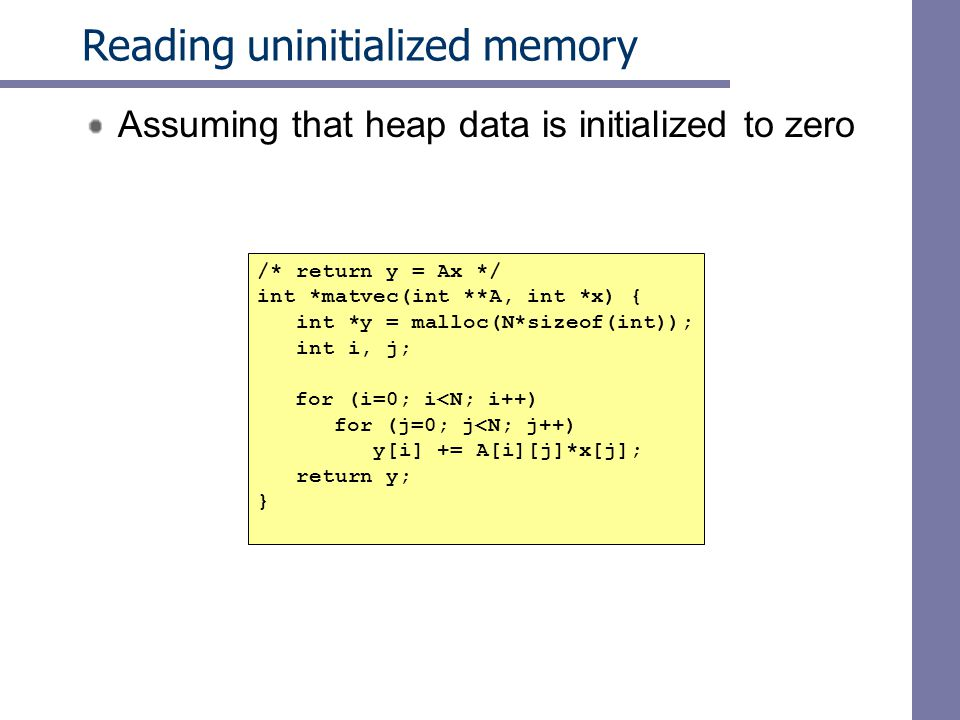 Reading uninitialized memory