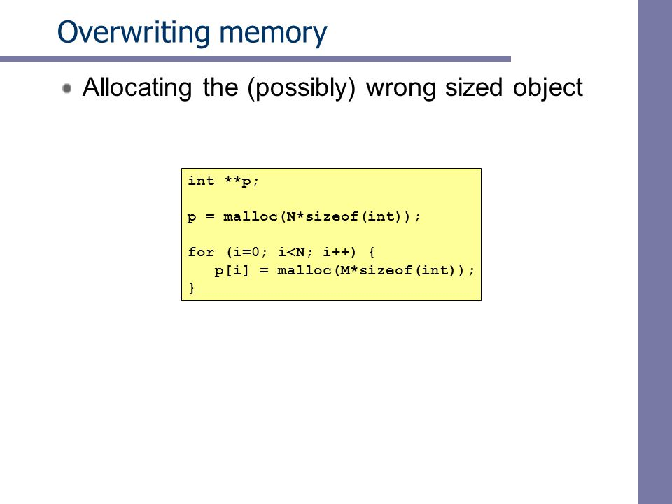 Overwriting memory Allocating the (possibly) wrong sized object