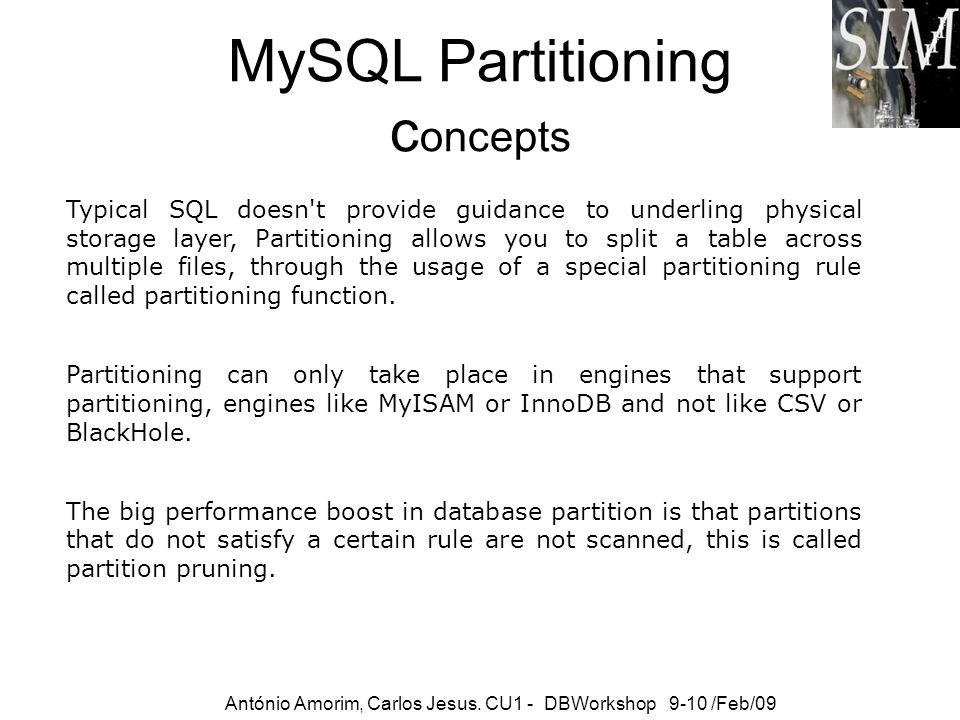 MySQL Partitioning concepts