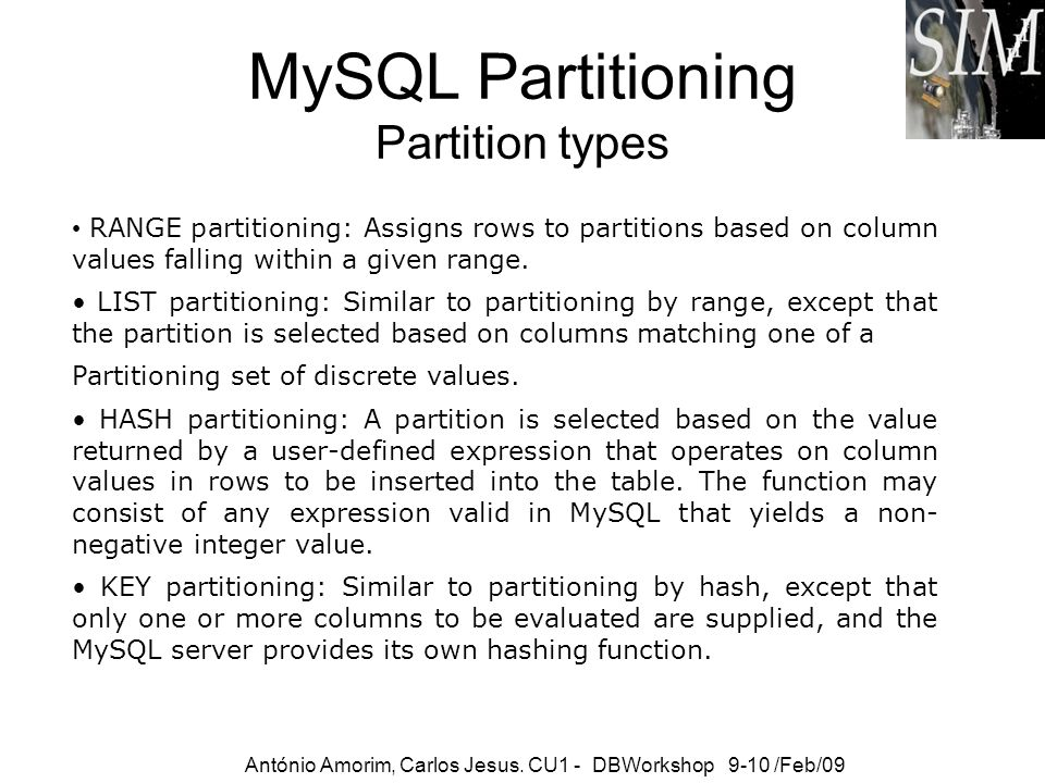 MySQL Partitioning Partition types