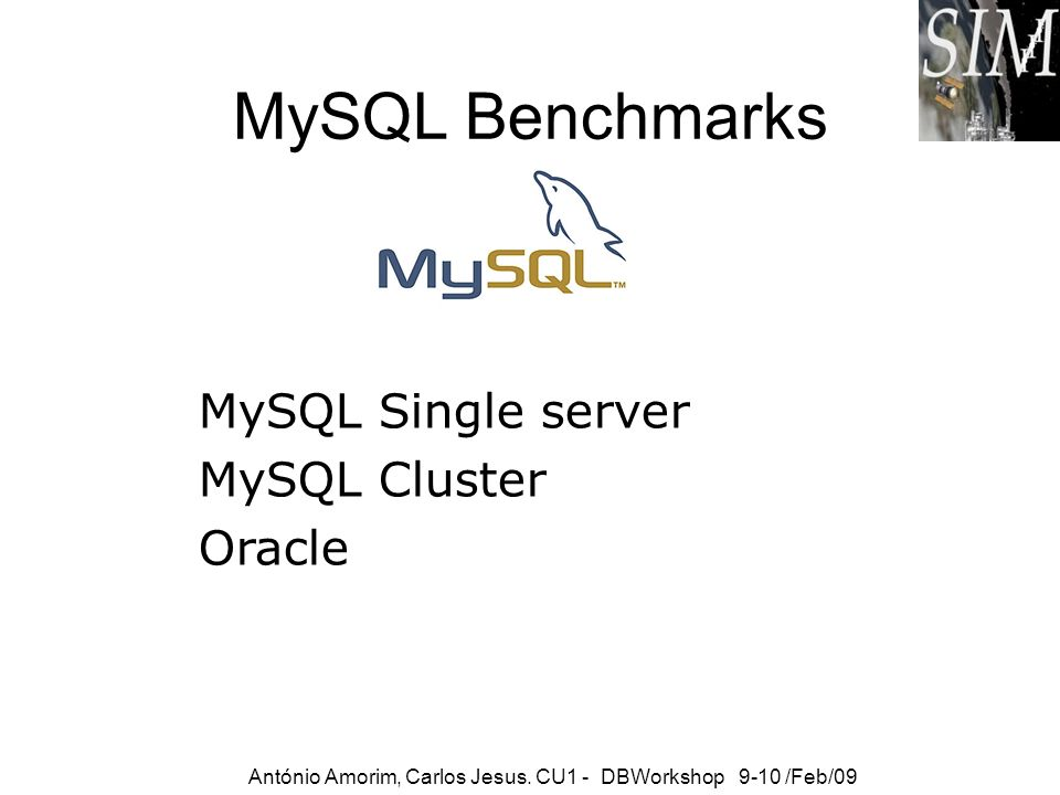 MySQL Benchmarks MySQL Single server MySQL Cluster Oracle
