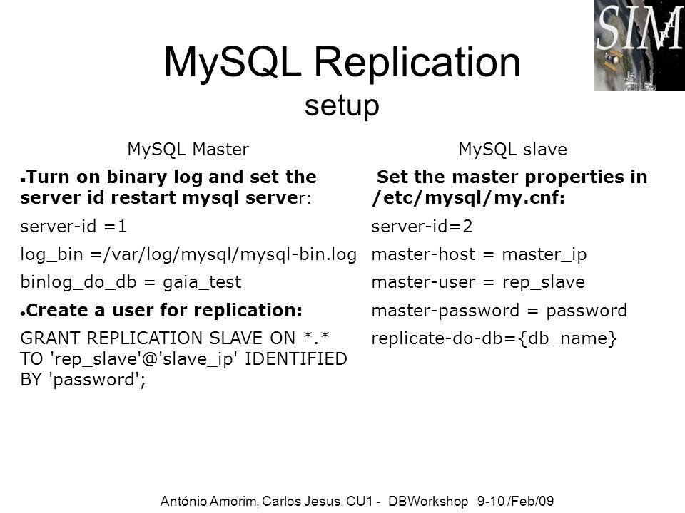 MySQL Replication setup MySQL Master