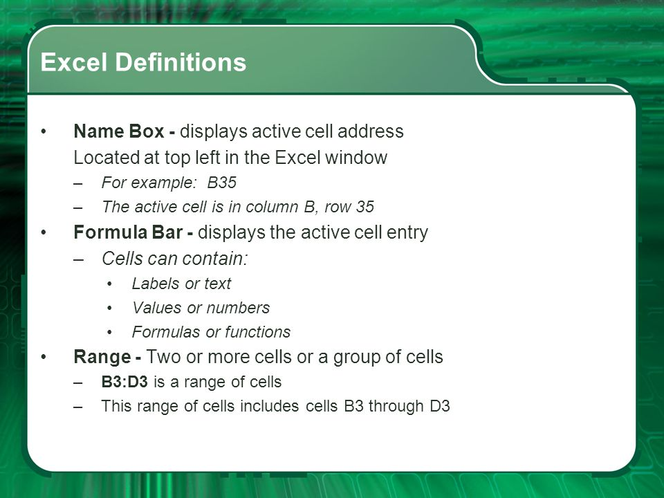 Excel Definitions Name Box - displays active cell address