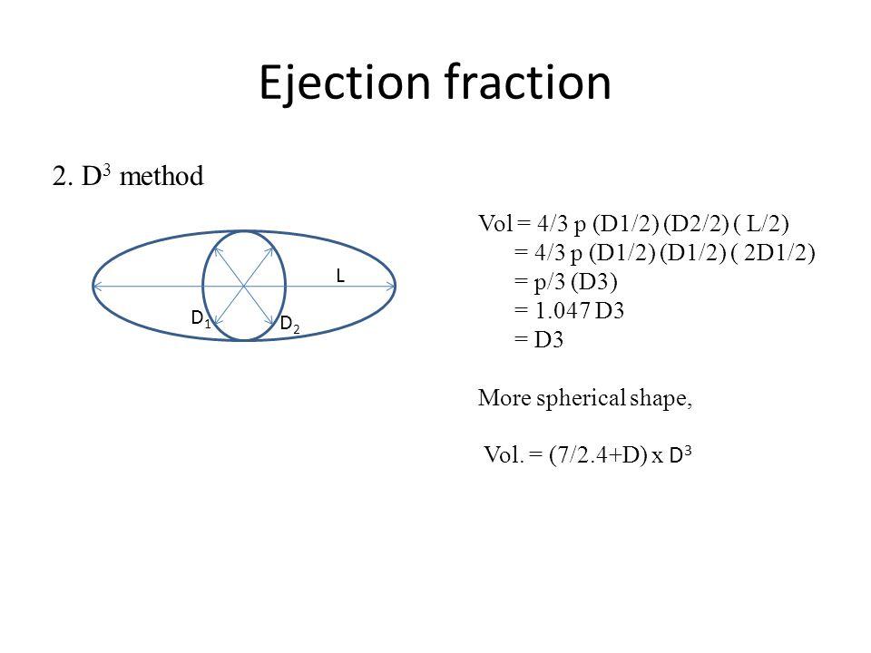 Ejection fraction 2. D3 method Vol = 4/3 p (D1/2) (D2/2) ( L/2)