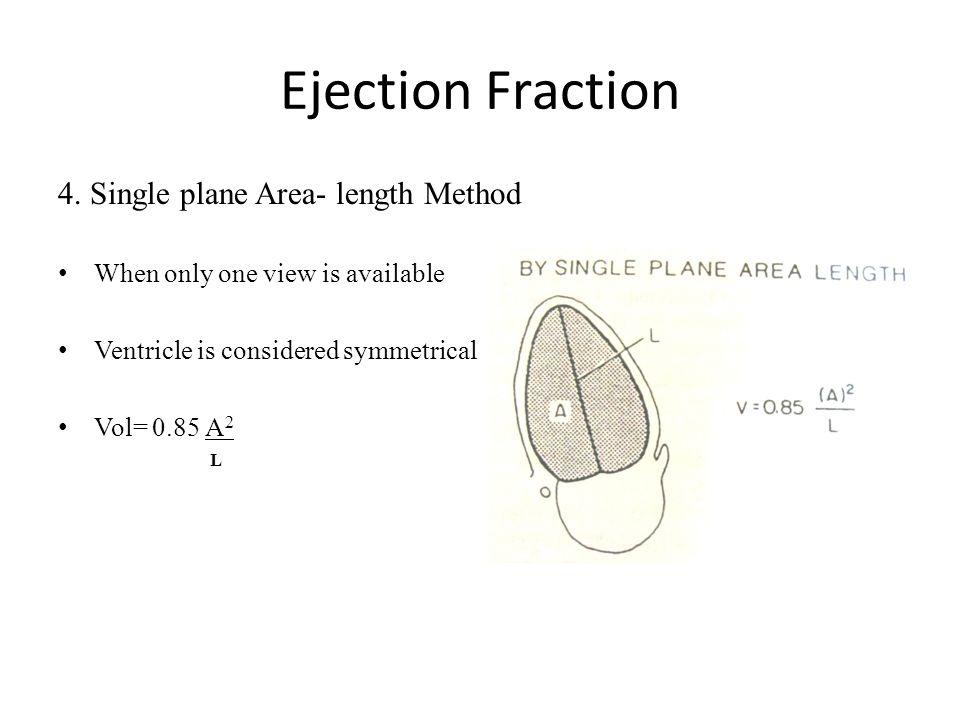 Ejection Fraction 4. Single plane Area- length Method