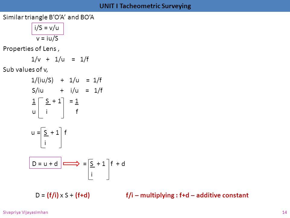 Similar triangle B'O'A' and BO'A i/S = v/u v = iu/S Properties of Lens , 1/v + 1/u = 1/f Sub values of v, 1/(iu/S) + 1/u = 1/f S/iu + i/u = 1/f 1 S + 1 = 1 u i f u = S + 1 f i D = u + d = S + 1 f + d D = (f/i) x S + (f+d) f/i – multiplying : f+d – additive constant
