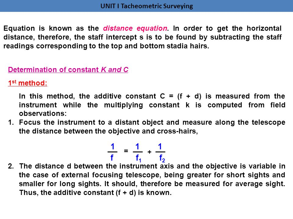 Equation is known as the distance equation