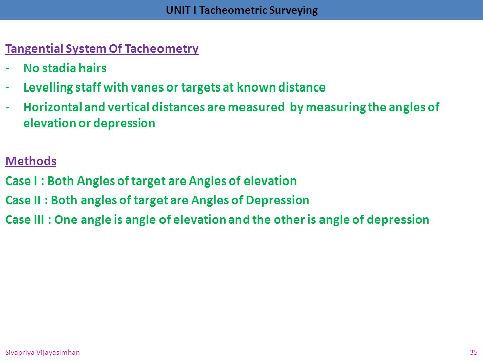 Tangential System Of Tacheometry No stadia hairs