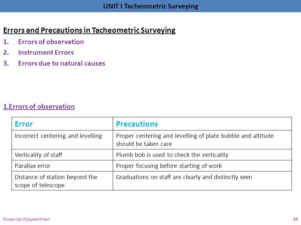 Errors and Precautions in Tacheometric Surveying