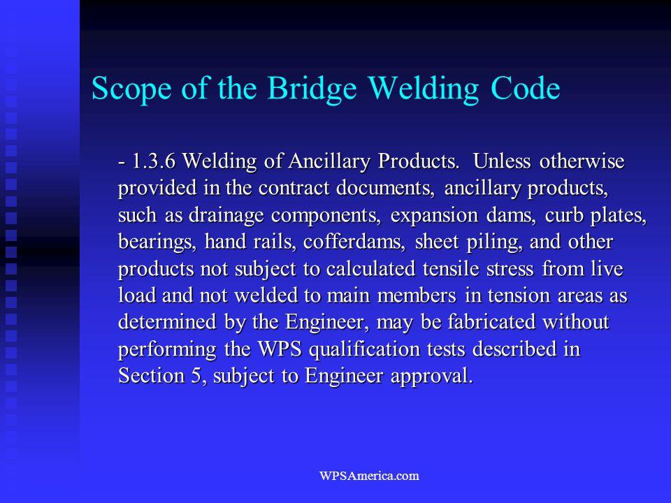 Scope of the Bridge Welding Code