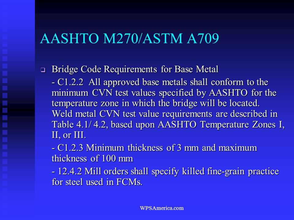 AASHTO M270/ASTM A709 Bridge Code Requirements for Base Metal