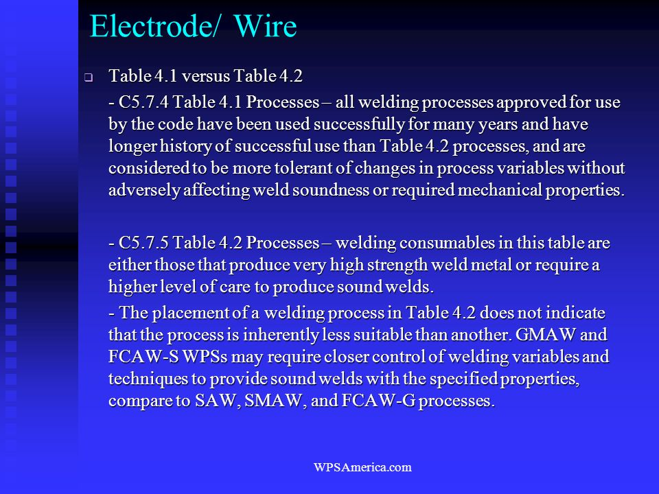 Electrode/ Wire Table 4.1 versus Table 4.2