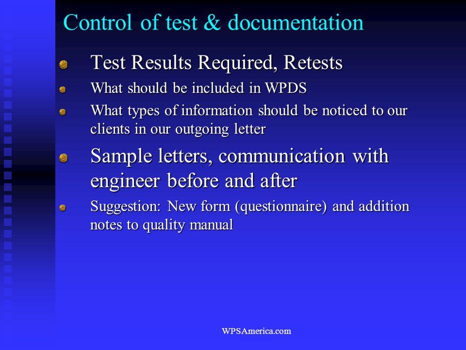 Control of test & documentation
