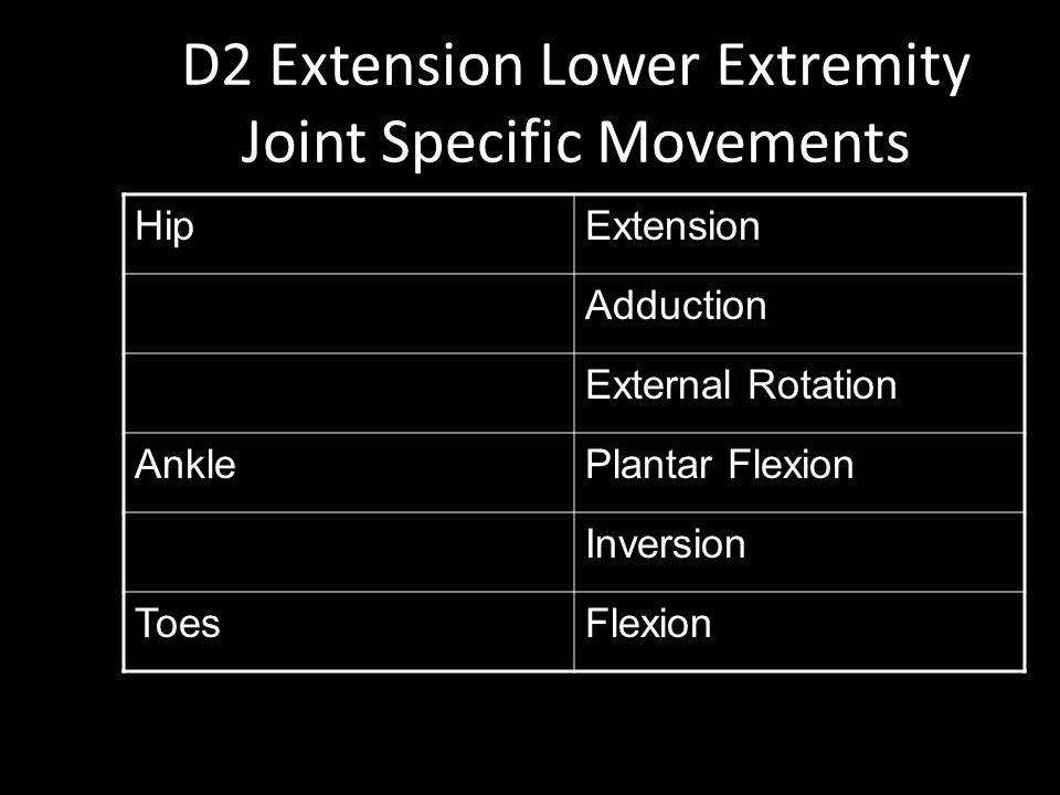 D2 Extension Lower Extremity Joint Specific Movements