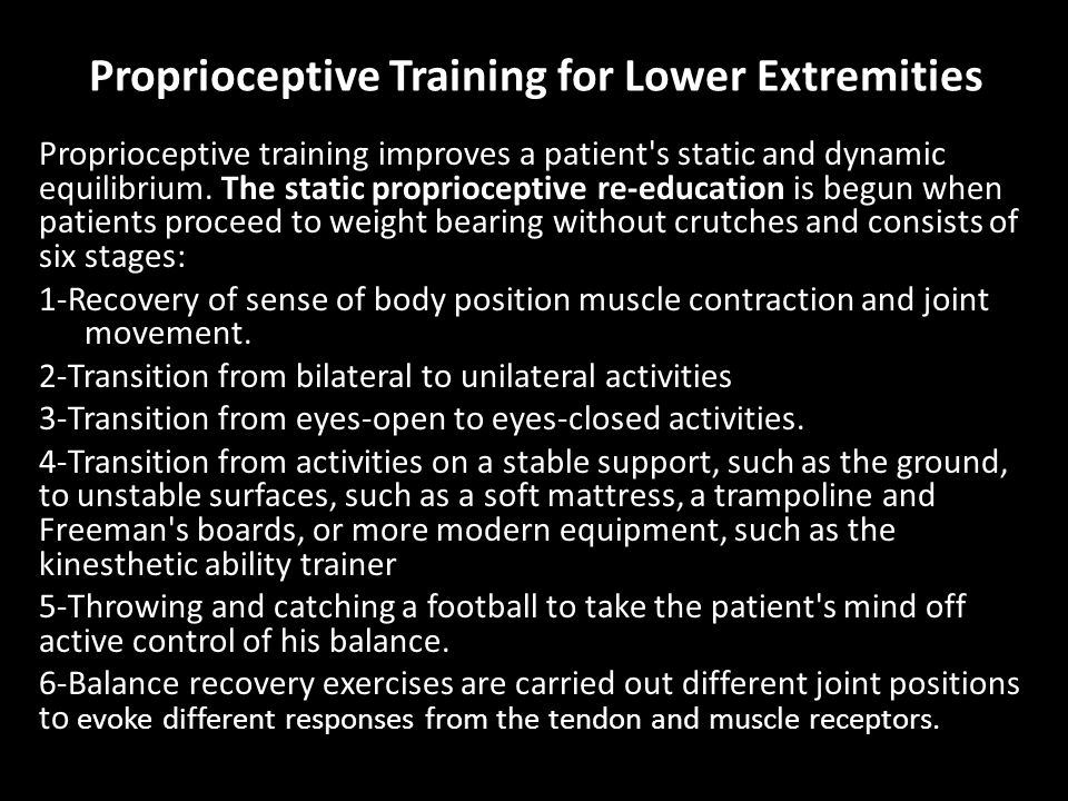 Proprioceptive Training for Lower Extremities