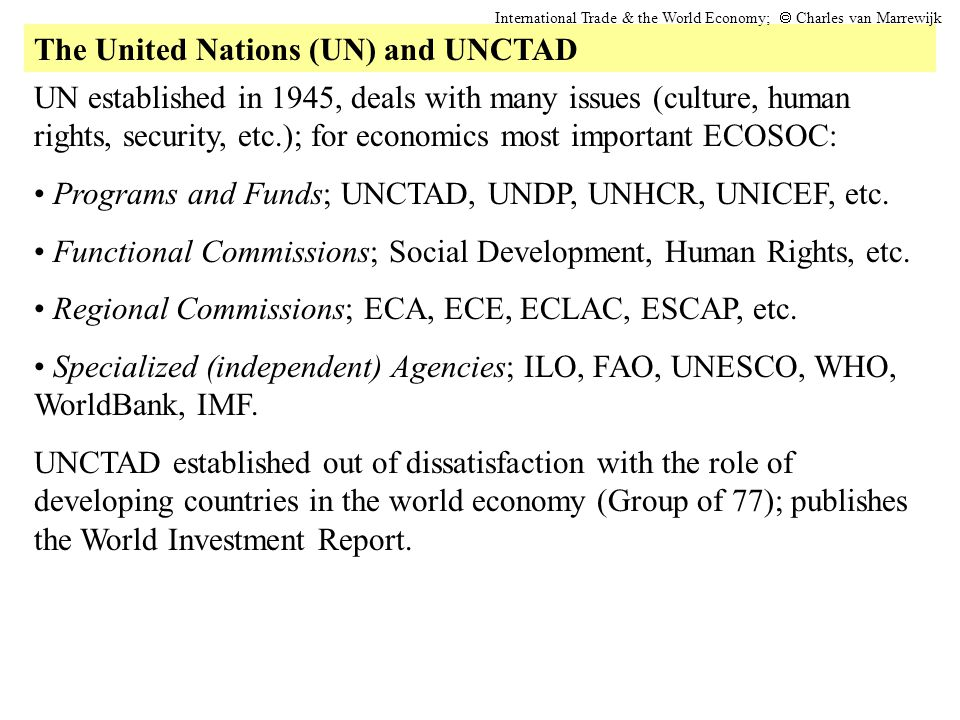 The United Nations (UN) and UNCTAD