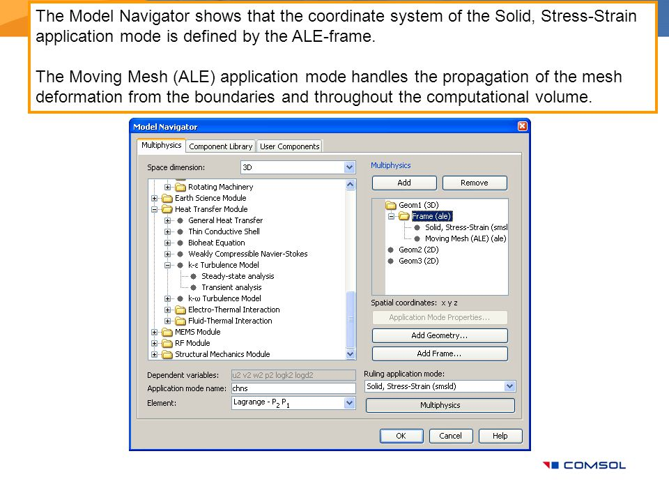 The Model Navigator shows that the coordinate system of the Solid, Stress-Strain application mode is defined by the ALE-frame.