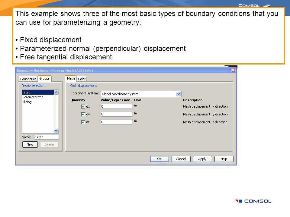 This example shows three of the most basic types of boundary conditions that you can use for parameterizing a geometry:
